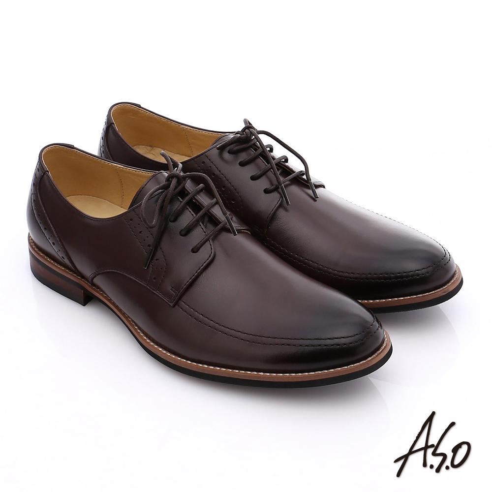 A.S.O 職人通勤 簡約全真皮綁帶紳士皮鞋 咖啡色