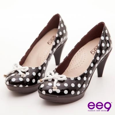 ee9 心滿益足~點點圓舞曲水鑽釦蝴蝶結高跟鞋~經典黑