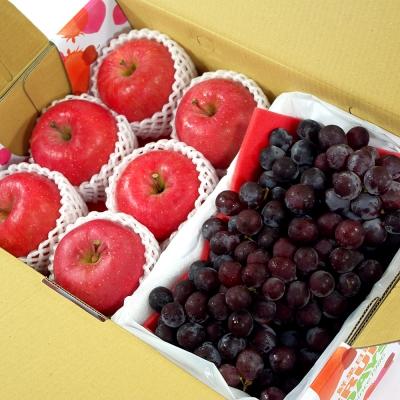 鮮果日誌 王牌健康禮盒(智利富士蘋果6入+巨峰葡萄2.5台斤)