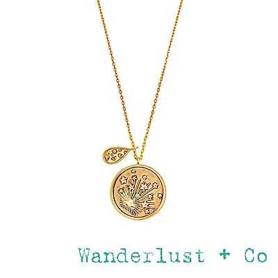 Wanderlust+Co 澳洲品牌 閃耀銀河星系項鍊 金色雙墜設計