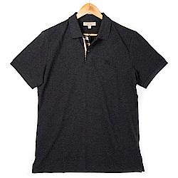 BURBERRY 經典格紋開襟珠地網眼棉質POLO衫 (暗混合炭灰色)