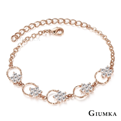 GIUMKA 浪漫花圈 手鍊-玫瑰金