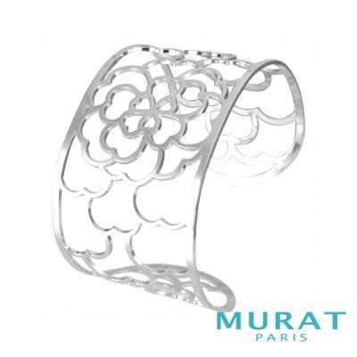 MURAT Paris米哈巴黎 鏤空玫瑰花寬版手環