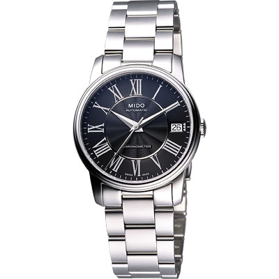 MIDO Baroncelli III Lady 天文台認證機械腕錶-黑/33mm