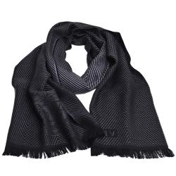 VERSACE 凡賽斯梅杜莎人字紋圖騰品牌字母LOGO義大利製設計羊毛披肩圍巾(黑/黑灰)