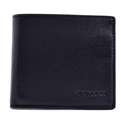 COACH 壓紋質感皮革八卡短夾-黑