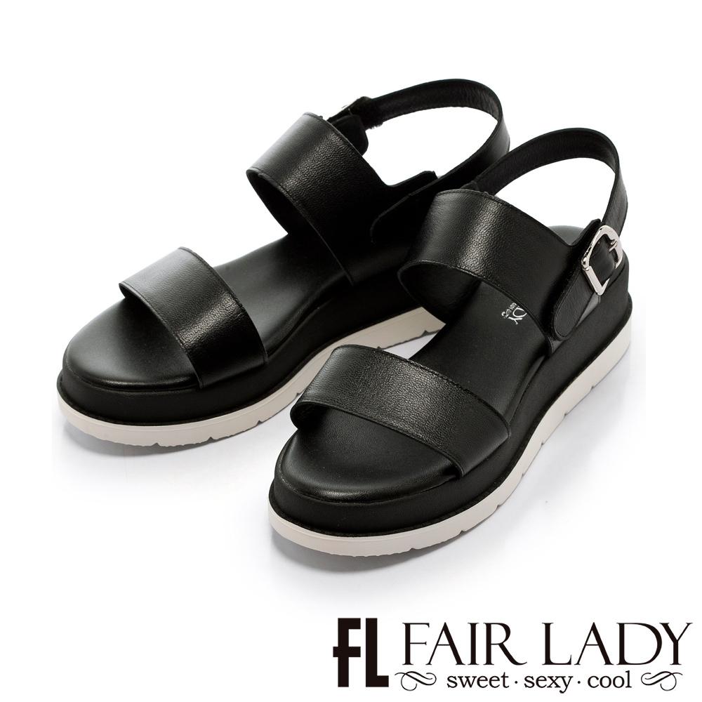Fair Lady 運動風簡約一字厚底涼鞋 黑