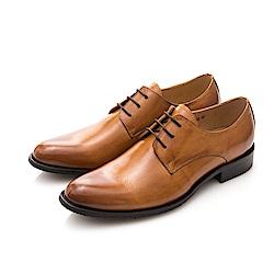ALLEGREZZA-都會輪廓-真皮打蠟擦色鞋頭素面綁帶尖頭皮鞋 焦糖色