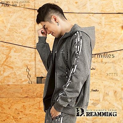 Dreamming 潮款迷彩滾邊休閒連帽運動外套-共二色