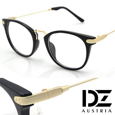 【2件59折】DZ 三點飾框細線腳 平光眼鏡(亮黑框霧金腳)