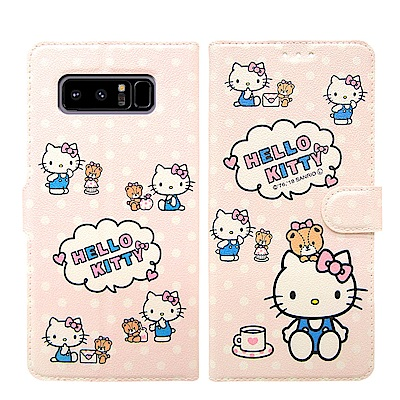Hello Kitty貓 Samsung Note 8 粉嫩系列彩繪磁力皮套(小...