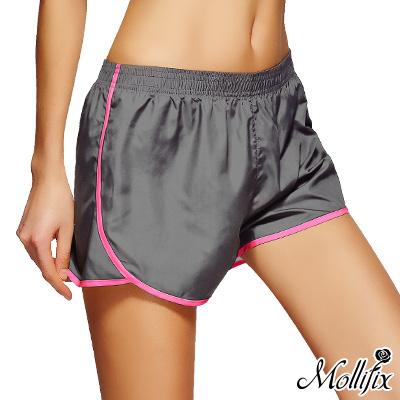 Mollifix 絕對好動撞色運動短褲(灰)