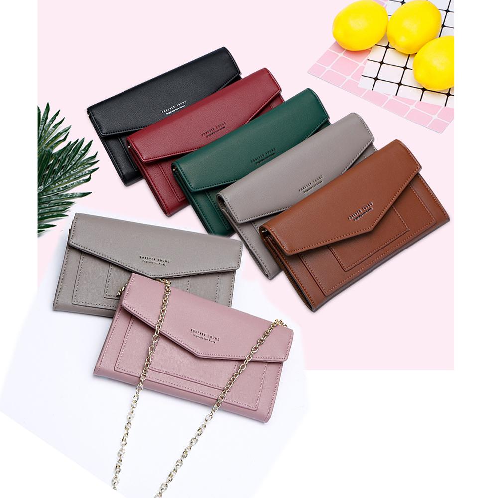 leaper多功能夾層鍊條可背手拿包手機包錢包
