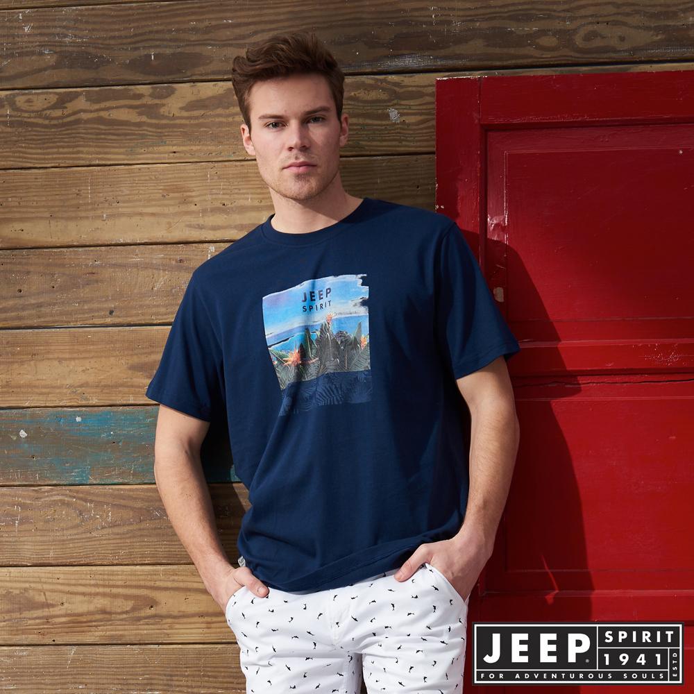 JEEP 休閒度假印花短袖TEE-藍色