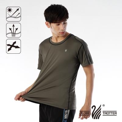【遊遍天下】 MIT男款抗UV吸濕排汗彈力圓領衫(咖啡)
