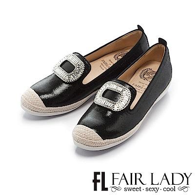 Fair Lady Soft Power軟實力 繽紛水鑽草編樂福休閒鞋 黑