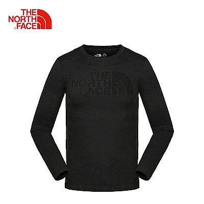 The North Face北面男款黑色戶外彈力透氣長袖運動T恤