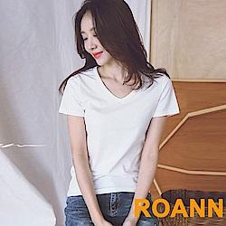 純色V領棉質短袖T恤(共三色)-ROANN