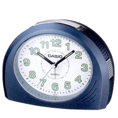 CASIO 1/2橢圓流線感鬧鐘(TQ-358-2)-白x藍框