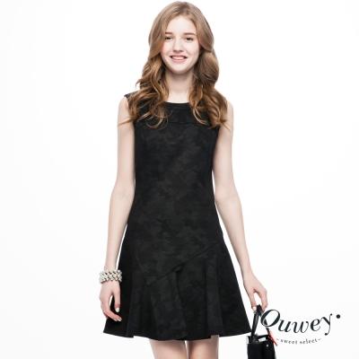 OUWEY歐薇-迷彩緹花羅馬布洋裝