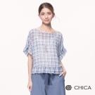 CHICA 夏日清新輕透感格紋設計荷葉袖上衣(3色)