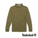 Timberland 男款橄欖綠素面修身純棉長袖Polo衫