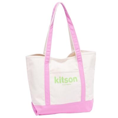 【kitson】 全台獨家 休閒渡假風帆布托特包(輕甜粉)