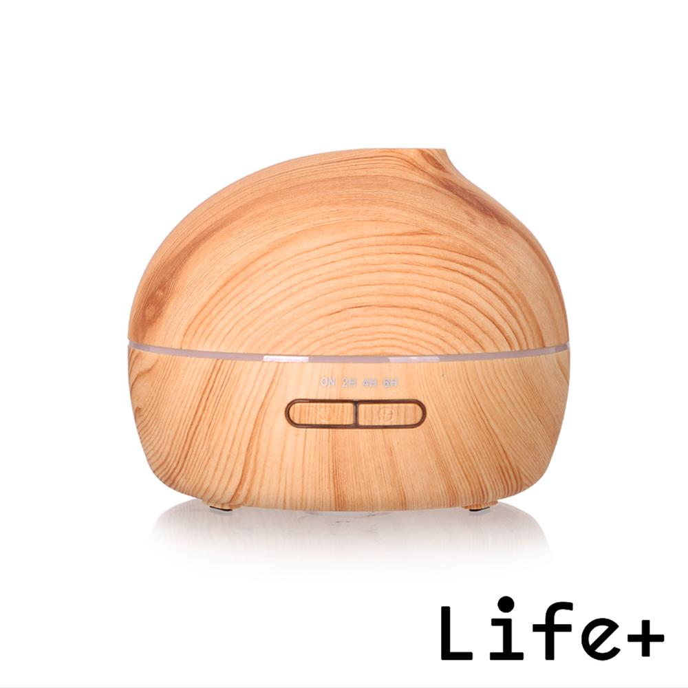 Life Plus 超聲波可定時香氛水氧機/加濕器_圓型 (淺木紋)