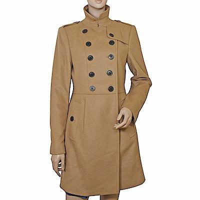 BURBERRY 經典立領雙排扣羊毛大衣長版外套(駝色)