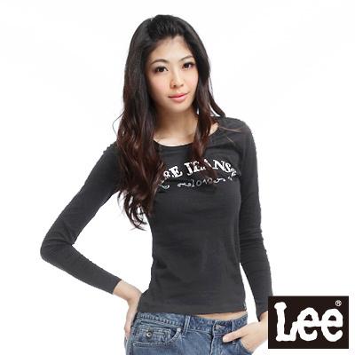 【Lee】燙金文字長袖圓領T恤-女款(黑灰)