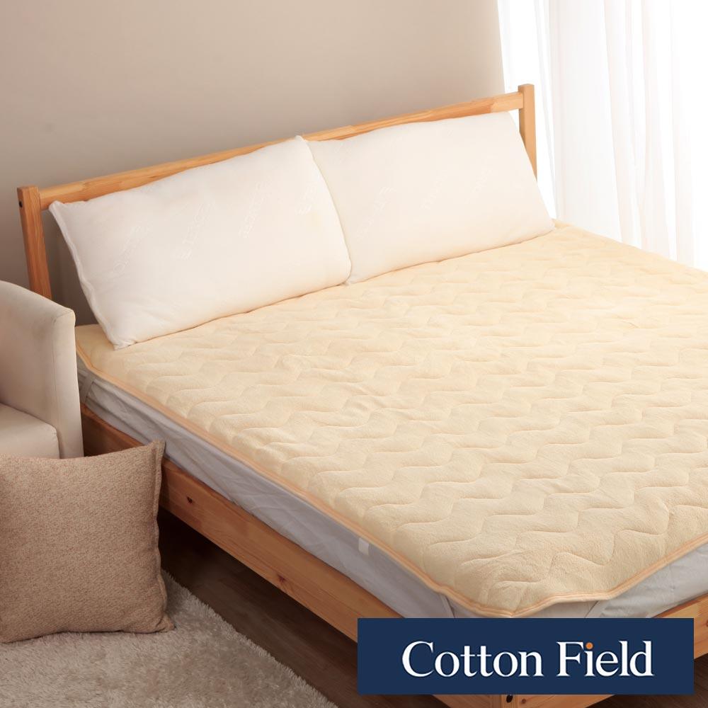 棉花田 暖暖 超細纖維雙人加大保暖墊-奶油色