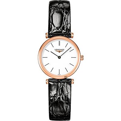 LONGINES 浪琴 嘉嵐系列石英女錶-玫瑰金框x黑/24mm