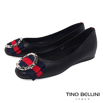 Tino Bellini 特殊環飾MIX雙色寬版蝴蝶結娃娃鞋_ 黑