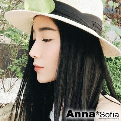 AnnaSofia-簡約黑摺帶-寬簷防曬遮陽紳士帽爵士帽草帽-米系
