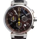 LV Q112G Tambour 鱷魚皮壓紋錶帶鏡面鑲鑽不鏽鋼自動計時腕錶-40mm