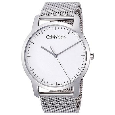 Calvin Klein 極簡品味時尚米蘭帶石英腕錶(K2G2G126)-白色/43mm