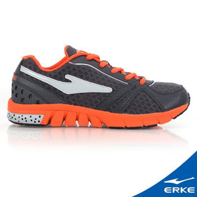 ERKE 鴻星爾克。男運動常規慢跑鞋-碳灰/橘紅