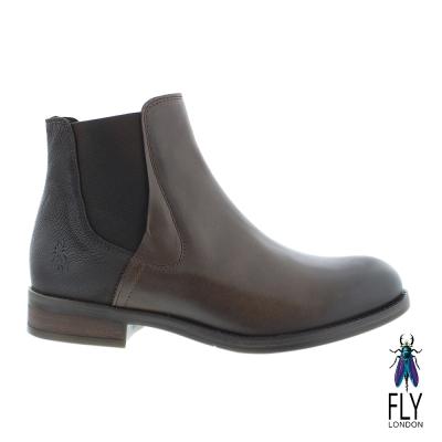 Fly London(女) 優雅拼接牛皮低跟中筒靴-咖
