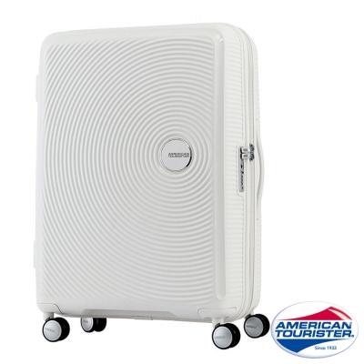 AT美國旅行者 30吋Curio立體唱盤刻紋硬殼可擴充TSA行李箱(白)