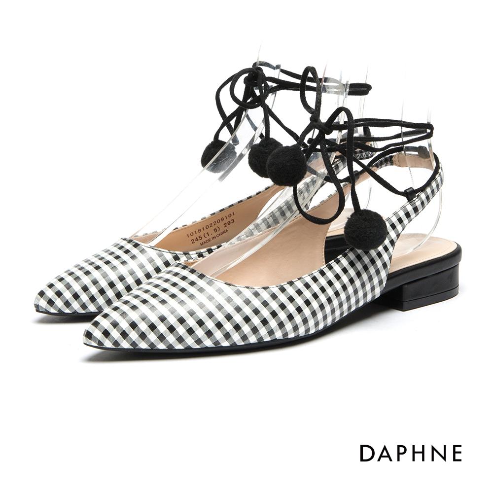 達芙妮DAPHNE 跟鞋-復古格紋羅馬綁帶低跟鞋-白