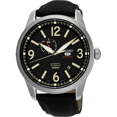 SEIKO 精工5號盾牌24石紳士風機械腕錶(SSA297J1)-黑/42mm