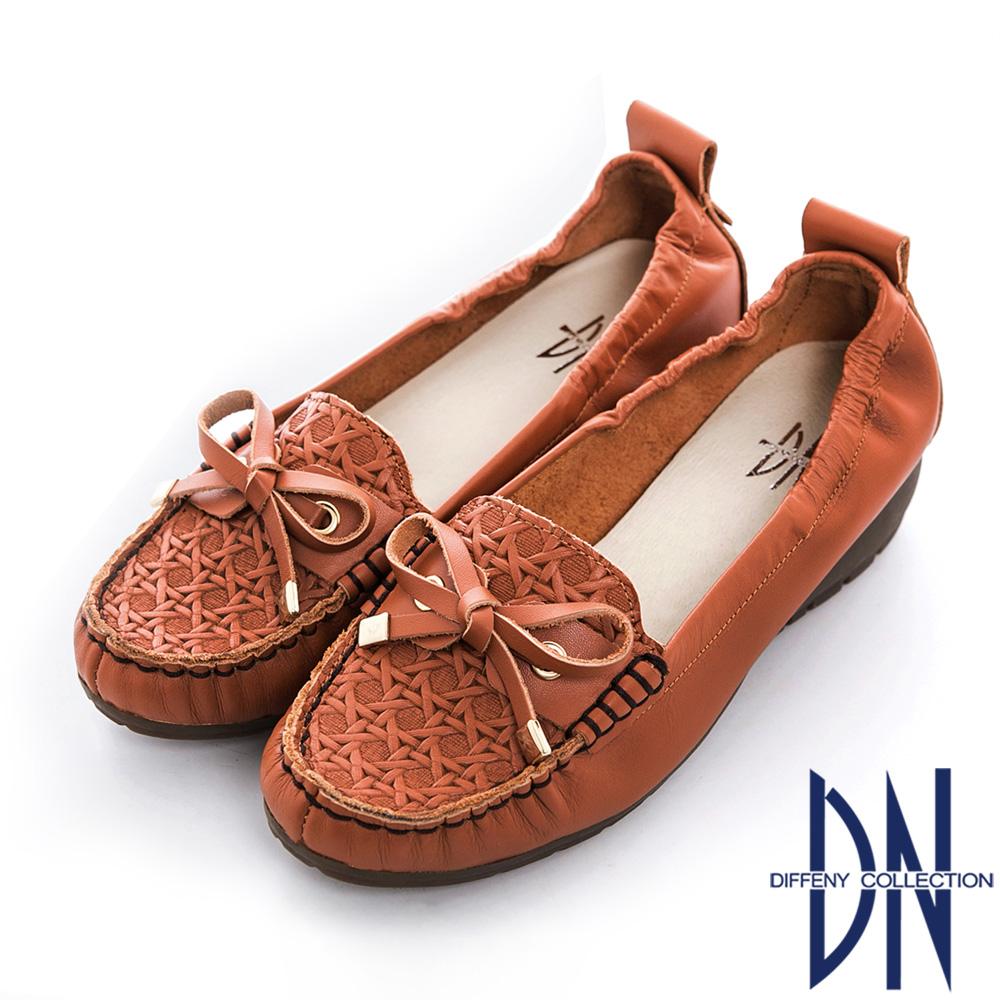 DN 簡約生活 全真皮蝴蝶結楔型莫卡辛鞋 橘