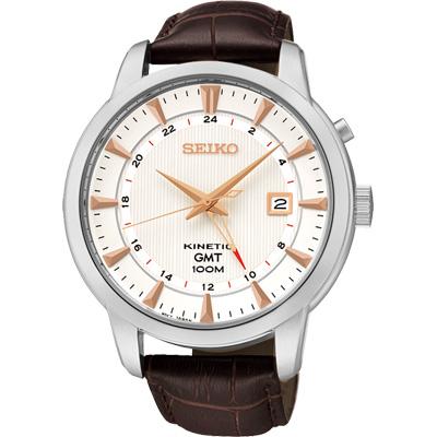 SEIKO-Kinetic-雙時區簡約時尚腕錶-咖