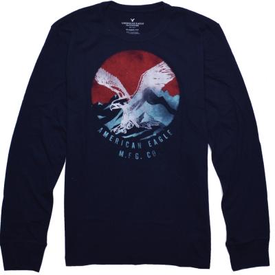 AE American Eagle 男裝 經典老鷹圖騰休閒長袖T恤-深藍
