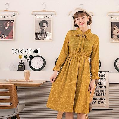 東京著衣 多色甜美小圓點領綁帶洋裝-S.M(共三色)