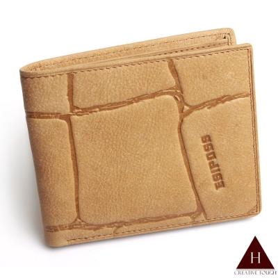 【H-CT】淺磁磚紋真皮短夾(SA665-3603-Z)
