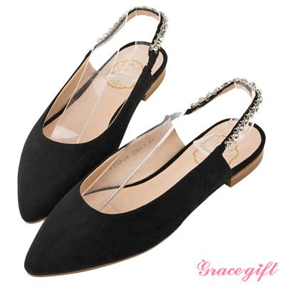 Grace gift-鑽鍊後鬆緊繫帶尖頭平底鞋 黑