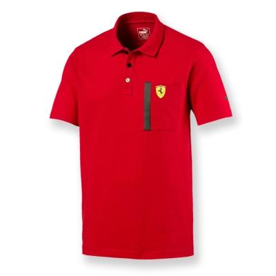 PUMA-男性法拉利車迷系列口袋短袖Polo衫-法拉利紅-歐規