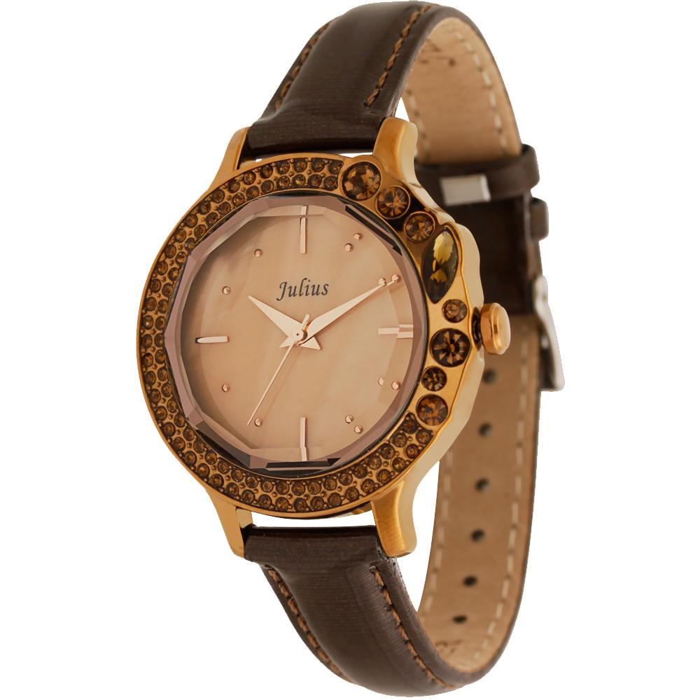 JULIUS聚利時 蜜亞公主滿鑽立體鏡面皮帶腕錶-深咖/36mm