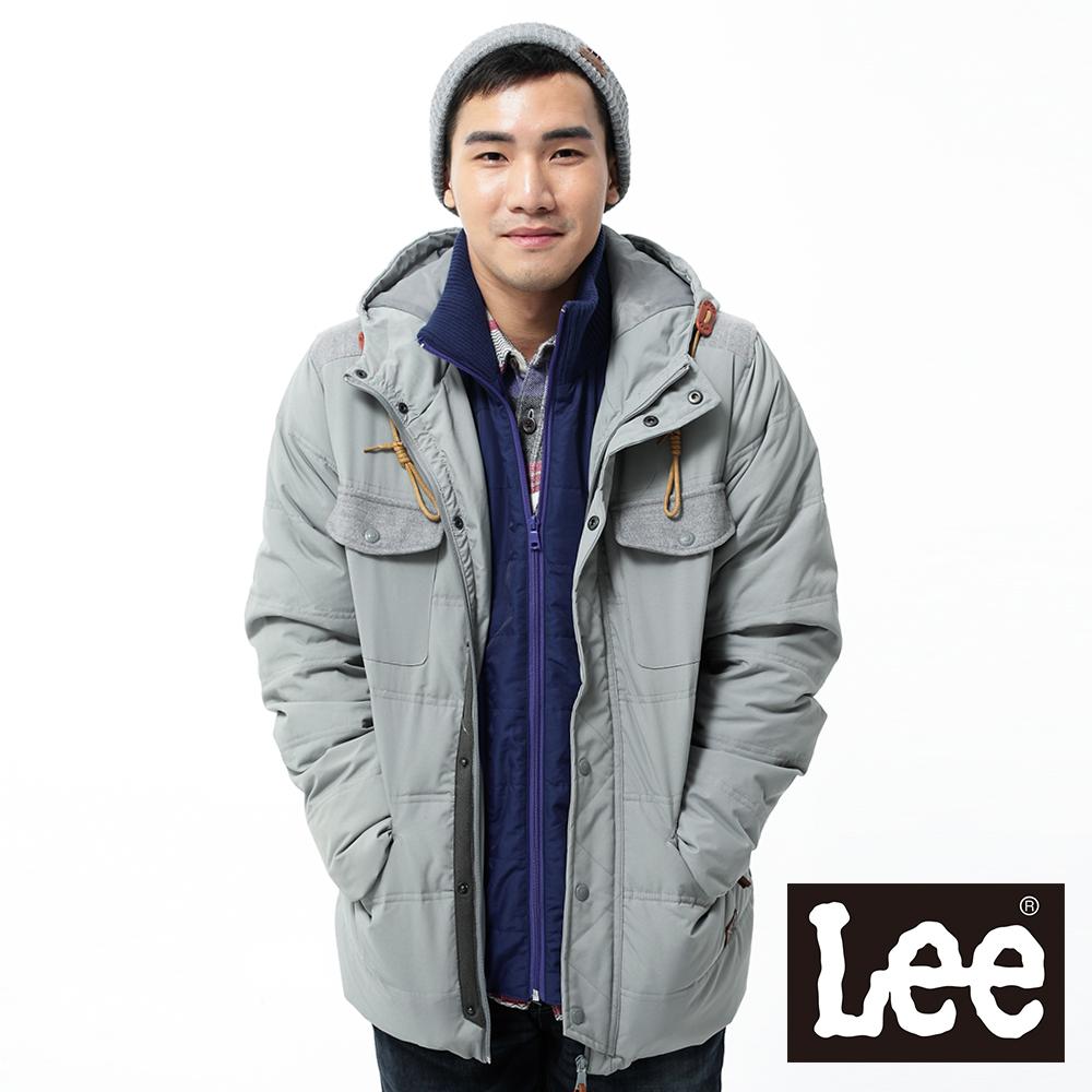 Lee羽絨外套拼接連帽中長版-男款-灰